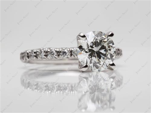 Platinum 1.53 Round cut Diamond Pave Ring
