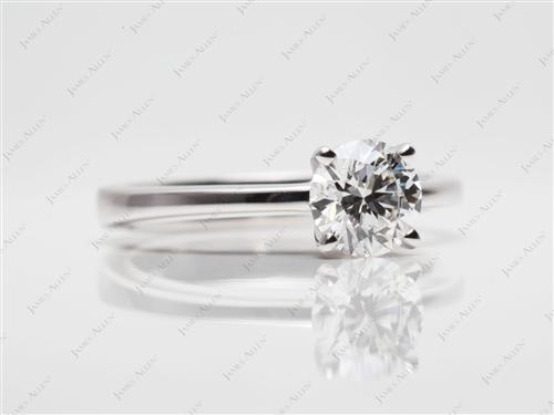White Gold 0.91 Round cut Solitaire Diamond Ring