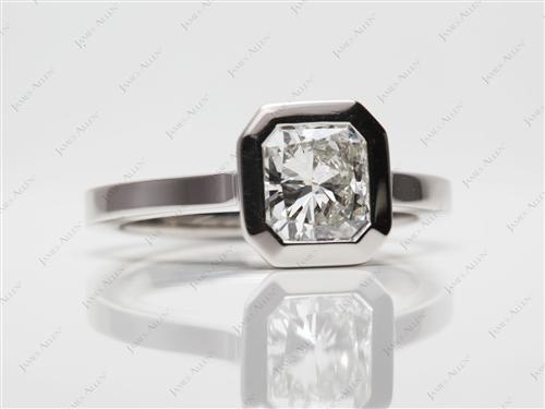 Platinum 1.07 Radiant cut Diamond Solitaire Rings