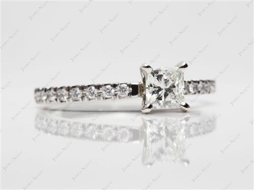 Platinum 0.73 Princess cut Pave Ring Set