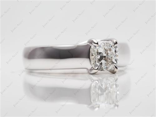 White Gold 0.80 Cushion cut Round Solitaire Ring