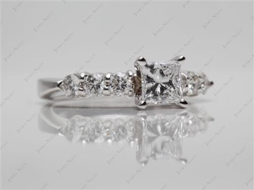 White Gold 0.60 Princess cut Diamond Rings