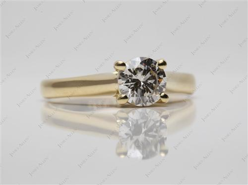 Gold 0.91 Round cut Solitaire Engagement Ring