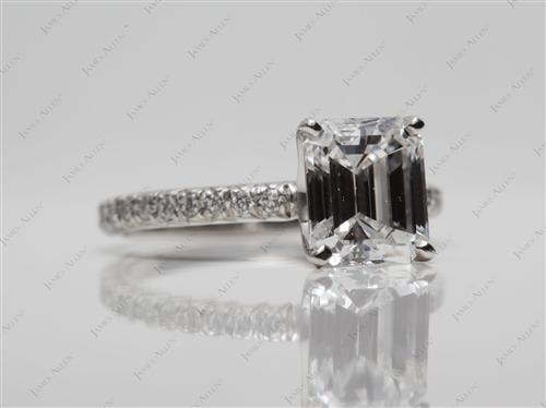 Platinum 2.01 Emerald cut Diamond Pave Ring