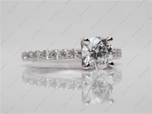 White Gold 0.87 Round cut Engagement Ring With Sidestones