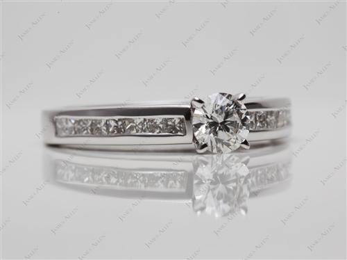 White Gold 0.50 Round cut Diamond Channel Rings