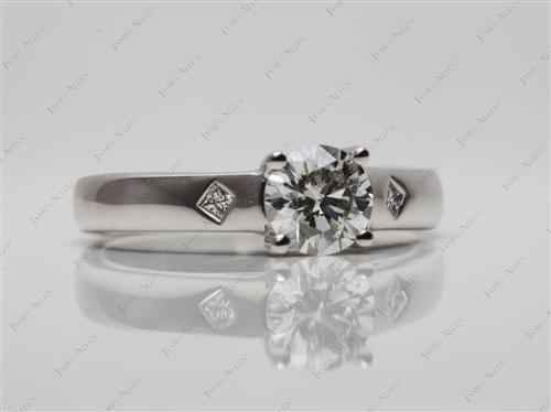 Platinum 0.72 Round cut Solitaire Ring Setting