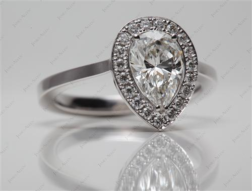 White Gold 1.09 Pear shaped Pave Engagement Rings