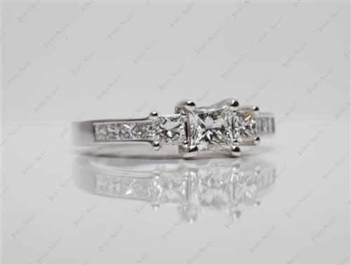 White Gold 0.51 Princess cut Sidestone Engagement Ring