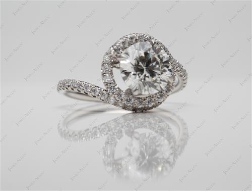 Platinum 1.36 Round cut Micro Pave Diamond Ring