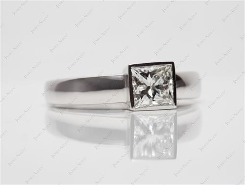 Platinum 0.90 Princess cut Tension Set Diamond Ring