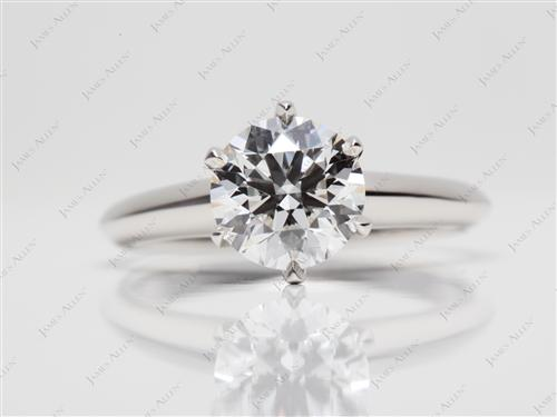 Platinum 1.31 Round cut Solitaire Rings
