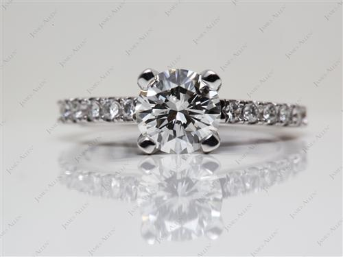 White Gold 1.00 Round cut Pave Diamond Engagement Rings