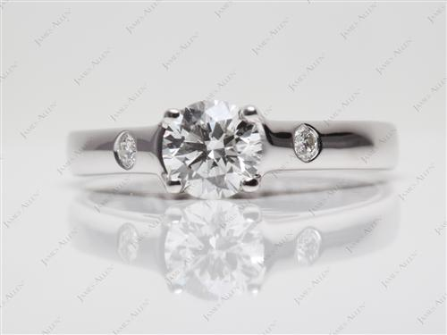 White Gold 0.72 Round cut Round Solitaire Ring