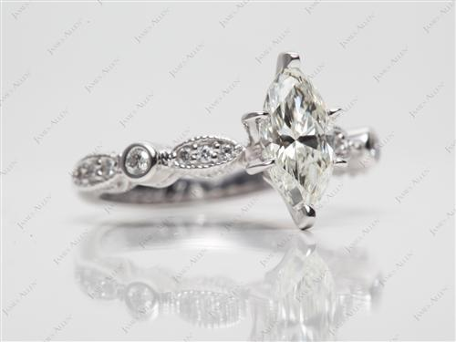 White Gold 0.85 Marquise cut Side Stone Engagement Rings