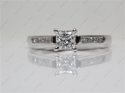 Platinum 0.60 Princess cut Channel Engagement Ring