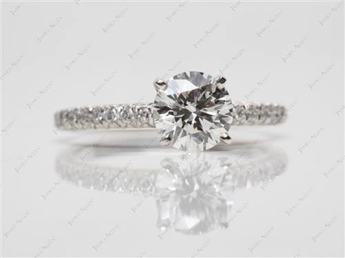 Platinum 1.05 Round cut Micro Pave Engagement Rings