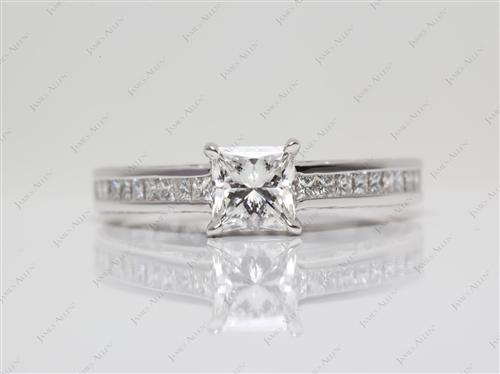 White Gold 0.74 Princess cut Channel Set Engagement Ring