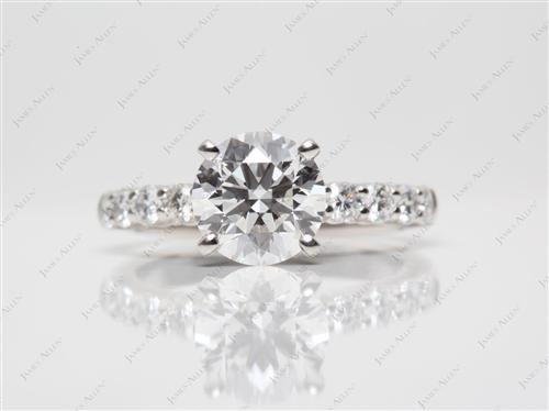 Platinum 1.60 Round cut Side Stone Engagement Ring