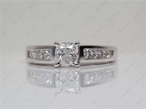 White Gold 0.69 Cushion cut Engagement Ring With Side Stones
