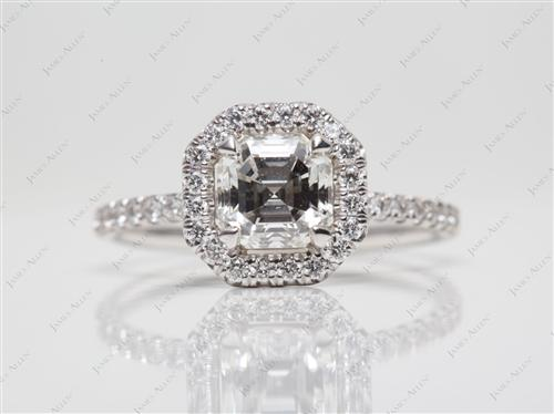 White Gold 1.02 Asscher cut Pave Engagement Ring