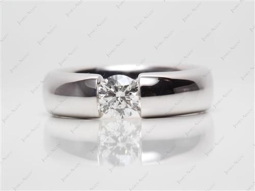 White Gold 0.50 Round cut Engagement Rings