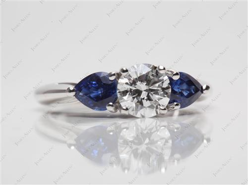 White Gold 0.64 Round cut Gemstone Diamond Rings