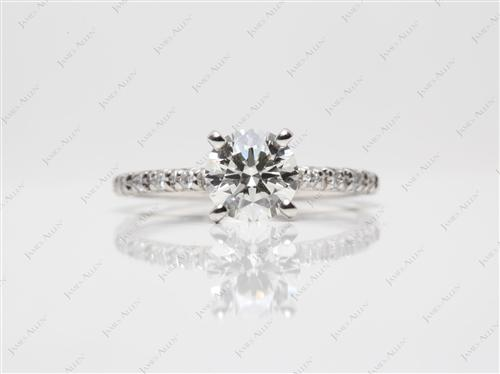 Platinum 0.92 Round cut Diamond Pave Rings