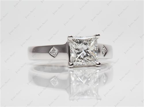 White Gold 1.21 Princess cut Solitaire Ring Mountings
