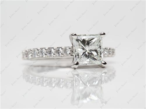 Platinum 1.52 Princess cut Engagement Rings With Sidestones