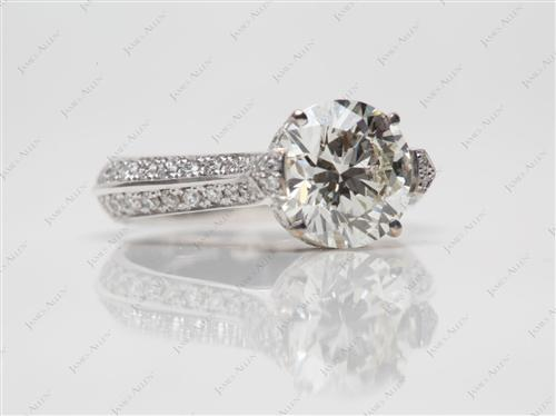 White Gold 1.54 Round cut Micro Pave Diamond Engagement Rings