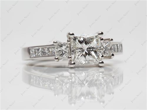 Platinum 1.03 Princess cut Diamond Ring With Side Stones