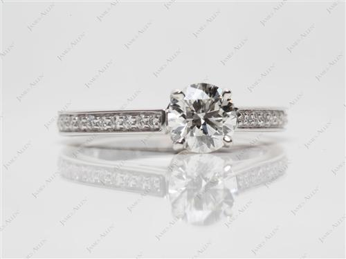 White Gold 0.84 Round cut Pave Rings