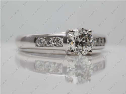 White Gold 0.88 Round cut Diamond Channel Ring