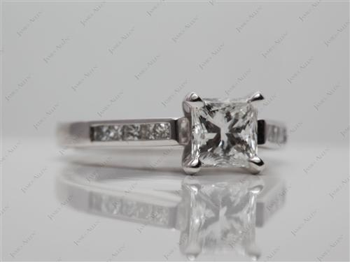 White Gold 0.96 Princess cut Diamond Channel Ring