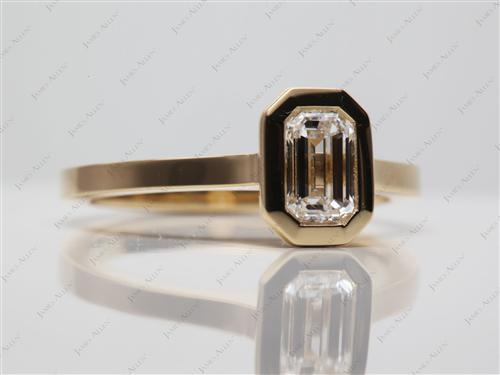 Gold 0.75 Emerald cut Engagement Ring