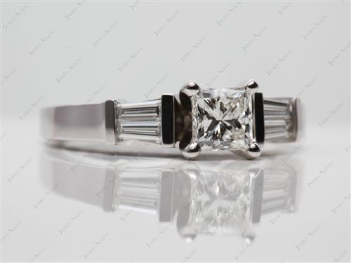 White Gold 0.71 Princess cut Diamond Ring With Side Stones