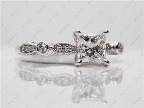 White Gold 1.12 Princess cut Side Stone Engagement Rings
