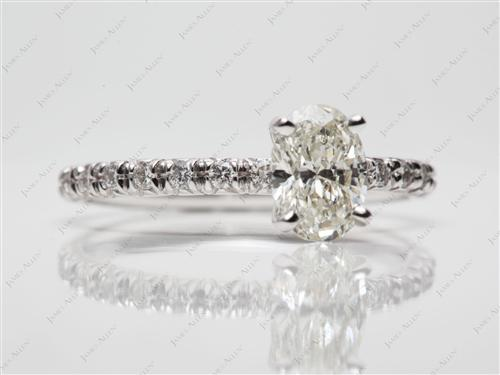 White Gold 1.00 Oval cut Pave Ring