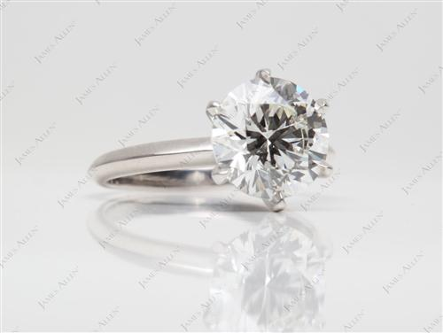Platinum 3.02 Round cut Diamond Engagement Solitaire Rings