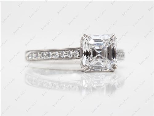 Platinum 1.53 Asscher cut Pave Setting Rings