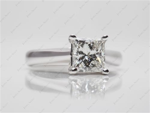 White Gold 1.36 Princess cut Round Solitaire Ring