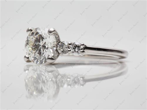 Platinum 1.12 Round cut Side Stone Engagement Ring