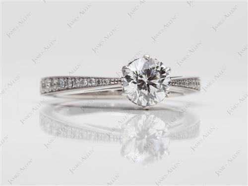 Platinum 0.81 Round cut Diamond Pave Rings