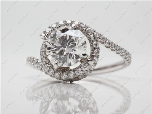 Platinum 1.25 Round cut Micro Pave Diamond Engagement Ring