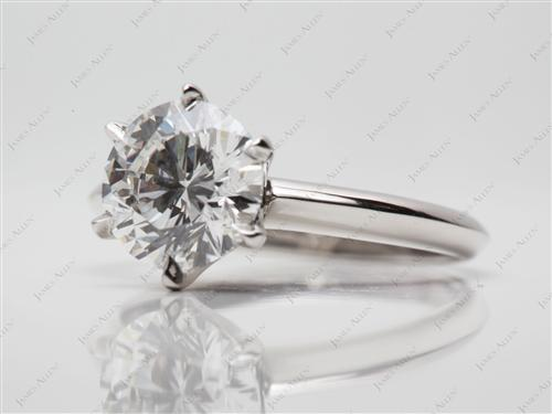 Platinum 1.86 Round cut Solitaire Ring Settings