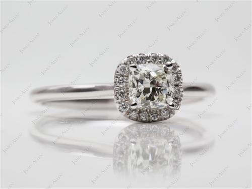 White Gold 0.81 Cushion cut Engagement Rings