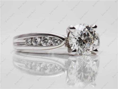 Platinum 1.27 Round cut Channel Set Rings