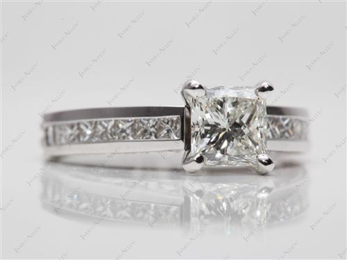 White Gold 1.11 Princess cut Channel Rings