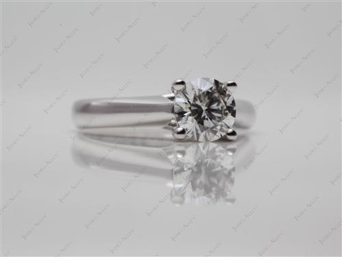 White Gold 0.80 Round cut Solitaire Rings